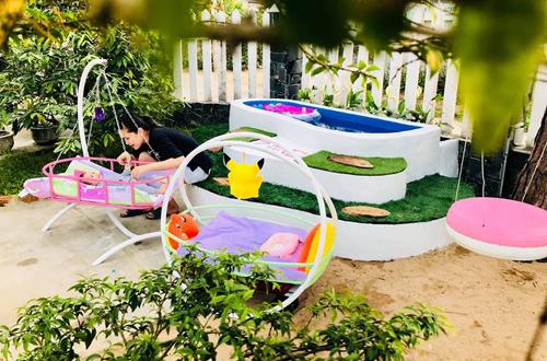 Xây bể bơi chưa tới một triệu đồng sử dụng cỏ nhân tạo trang trí3