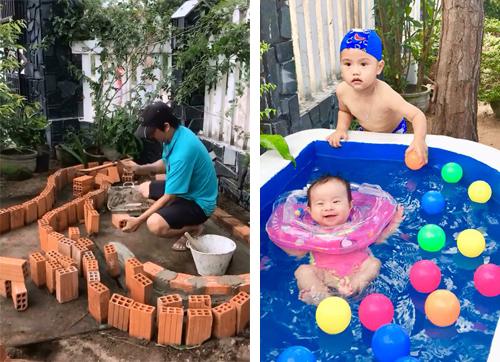Xây bể bơi chưa tới một triệu đồng sử dụng cỏ nhân tạo trang trí 2